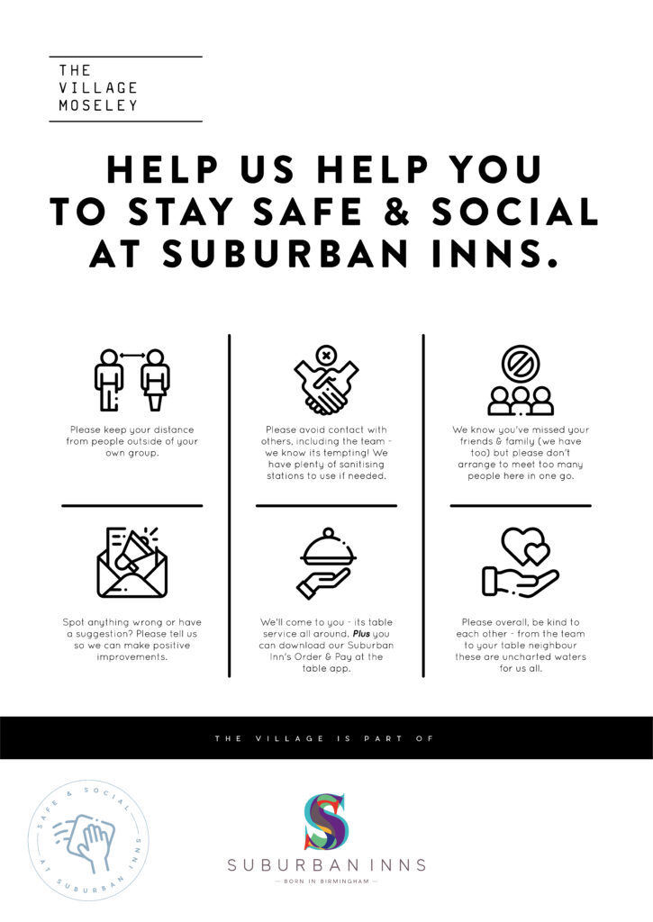Suburban Inn's Safe & Social visual guide